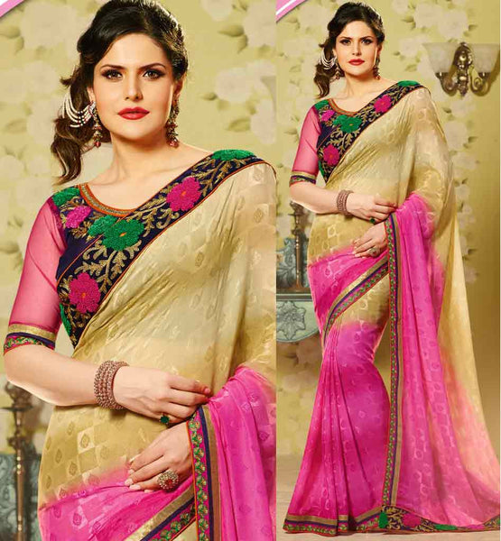 BOLLYWOOD HEROINE ZARINE KHAN LATEST FASHION SHADED DESIGNER SAREE