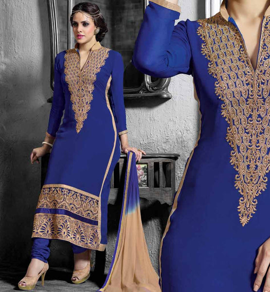 BUY DESIGNER STRAIGHT FIT LONG KAMEEZ CHURIDAR SALWAR & DUPATTA