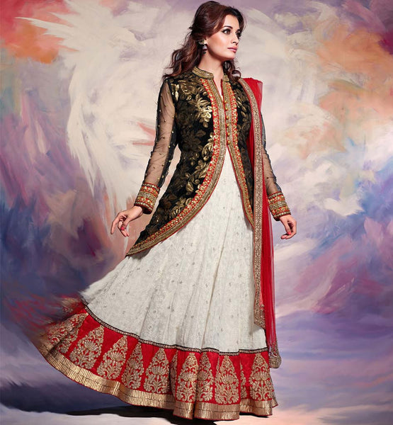 DIA MIRZA OFF WHITE LEHENGA WITH BLACK JACKET CHOLI
