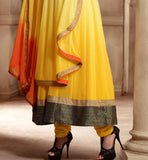 CASH ON DELIVERY |  YELLOW PARTY WEAR SALWAR KAMMEZ WITH DUAPPTA | GEORGETTE KAMEEZ WITH SANTOON CHURIDAR SALWAR.