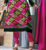 V-NECK PRINTED SALWAR SUIT RICH EMBROIDERY ON NECKLINE AND SLEEVES
