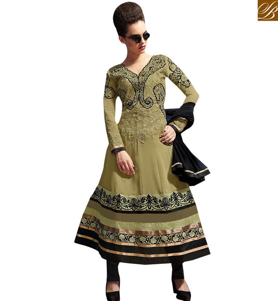 MAJESTIC MEHENDI COLOR PARTY WEAR ANARKALI DRESS RTASM3