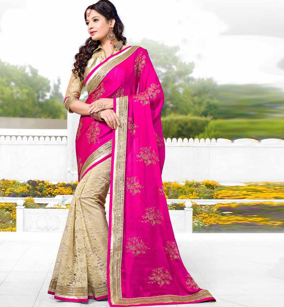 BUY ONLINE DESIGNER PINK & CREAM SAREE SPECIAL OCCASION WEAR