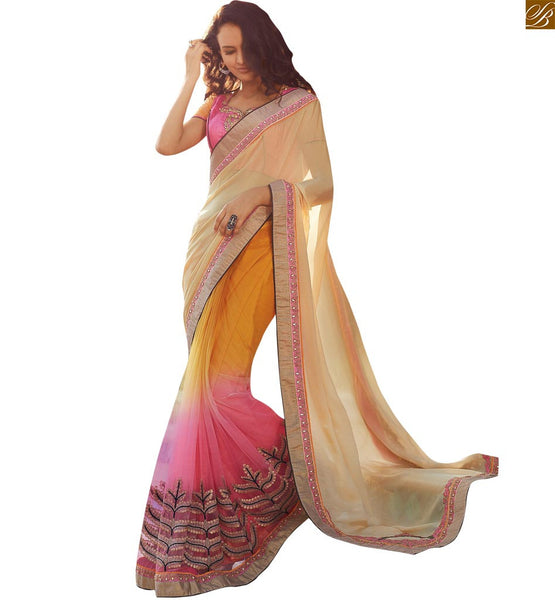 STYLISH BAZAAR ELEGANT CREAM ORANGE AND PINK COLORED SAREE WITH A PINK BLOUSE ANOB40