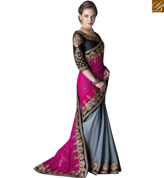 STYLISH BAZAAR BUY ONLINE GREY AND PINK GEORGETTE HEAVY EMBROIDERED HALF N HALF SAREE WITH BLACK EMBROIDERED BLOUSE GLZR4001