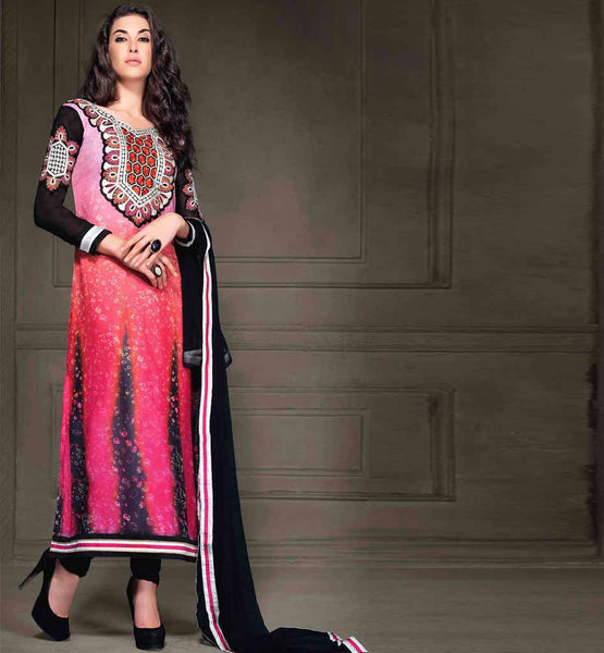 PINK & BLACK GEORGETTE PARTY WEAR SALWAR KAMEEZ WITH BLACK DUPATTA RTANA4001