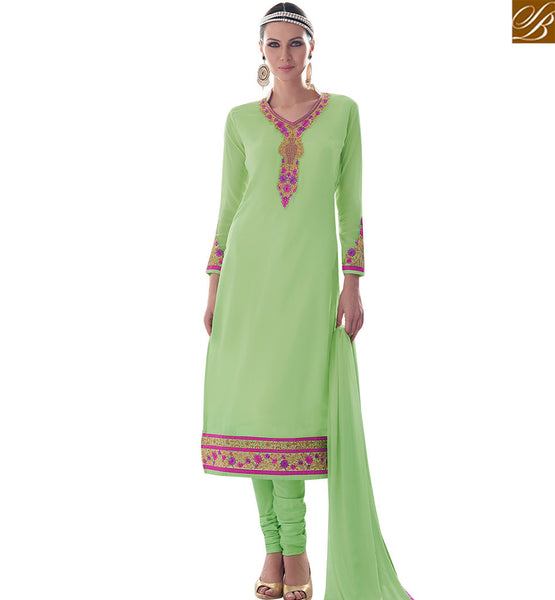 STYLISH BAZAAR IDEAL SEA GREEN COLORED SALWAR SUIT WITH GREAT BORDER WORK SLAY4001