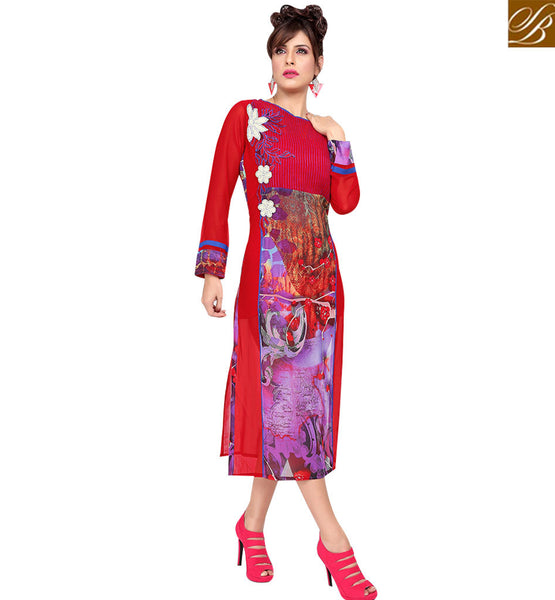 STYLISH BAZAAR ATTRACTIVE RED COLORED DIGITAL PRINTED KURTI RTZP4001
