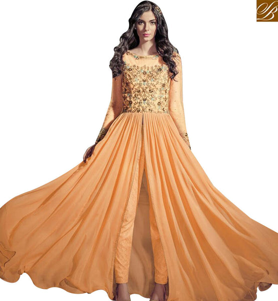 STYLISH BAZAAR ATTRACTIVE PEACH COLORED GEORGETTE BEAUTIFUL EMBROIDERED WORK CHEST SLIT CUT ANARKALI STYLE SUIT JNROS4001