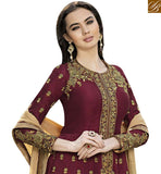 BROUGHT TO YOU BY STYLISH BAZAAR GRAND WINE SILK EMBROIDERED ANARKALI SALWAR KAMEEZ WITH ROUND NECK STYLE GLZR1501