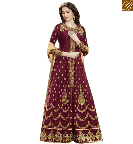 STYLISH BAZAAR GRAND WINE SILK EMBROIDERED ANARKALI SALWAR KAMEEZ WITH ROUND NECK STYLE GLZR1501