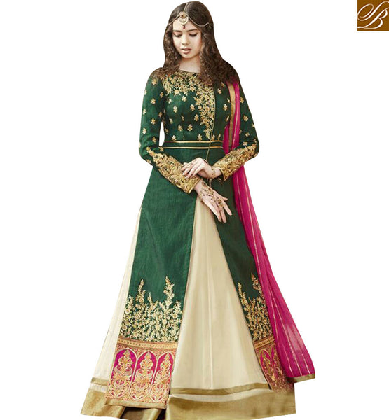 STYLISH BAZAAR GREEN AND CREAM ANARKALI SALWAR KAMEEZ WITH EMBROIDERED JACKET STYLE GLZR1502