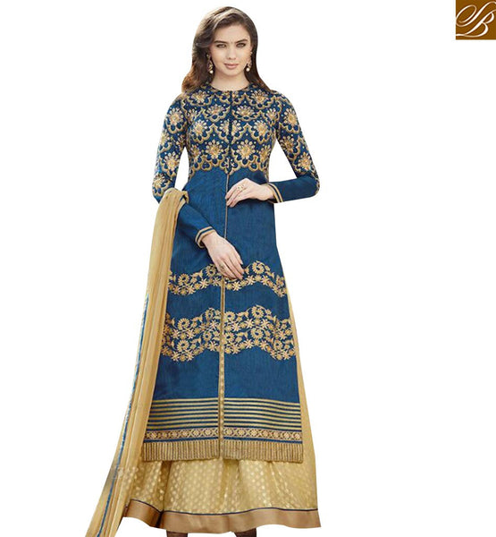STYLISH BAZAAR WONDERFUL BLUE HEAVY EMBROIDERED DRESS WITH LEHENGA STYLE GLZR1503