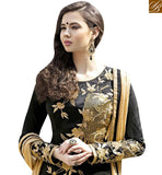 A STYLISH BAZAAR PRESENTS FASCINATING BLACK AND CREAM EMBROIDERED PLAZZO STYLE DRESS WITH FULL SLEEVES GLZR1504