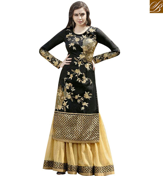 STYLISH BAZAAR FASCINATING BLACK AND CREAM EMBROIDERED PLAZZO STYLE DRESS WITH FULL SLEEVES GLZR1504
