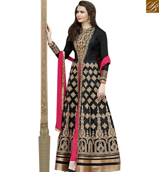 AMAZING BLACK BANGLORI SILK ANARKALI LONG SUIT WITH HEAVY EMBROIDERED GLZR1507