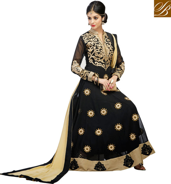 BEWITCHING BLACK GEORGETTE ANARKALI RTWV4002 - STYLISHBAZAAR - ethnic wear for women, women ethnic wear, ethnic wear for women online, women ethnic wear online shopping, women ethnic wear online