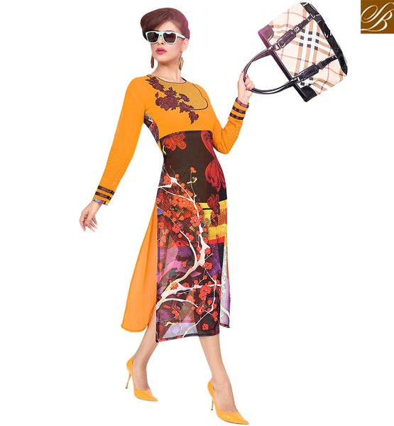 STYLISH BAZAAR GOOD LOOKING ORANGE COLORED DIGITAL PRINTED KURTI RTZP4002