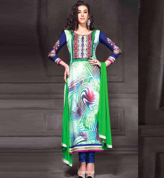 GLAMOROUS GEORGETTE PARTY WEAR SALWAR KAMEEZ WITH GREEN DUPATTA RTANA4002 STYLISHBAZAAR SHOP