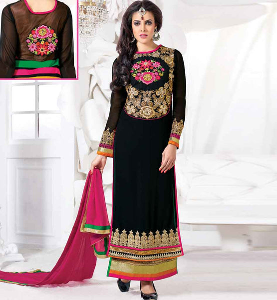 STUNNING BLACK GEORGETTE PARTY WEAR SALWAR KAMEEZ WITH DUPATTA