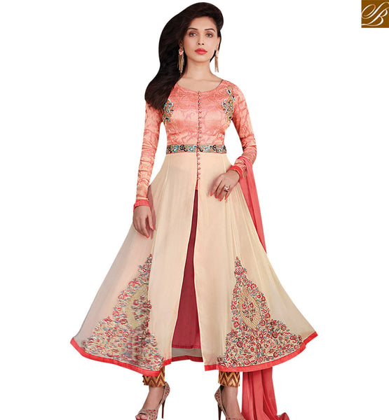STYLISH BAZAAR LOVELY CREAM & PEACH COLORED DESIGNER SALWAR KAMEEZ RTZN4002