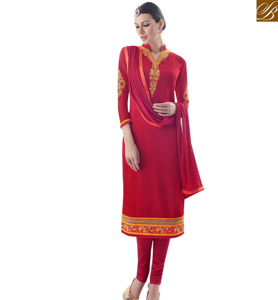 STYLISH BAZAAR STRIKING RED COLORED DESIGNER SALWAR KAMEEZ SLAY4002