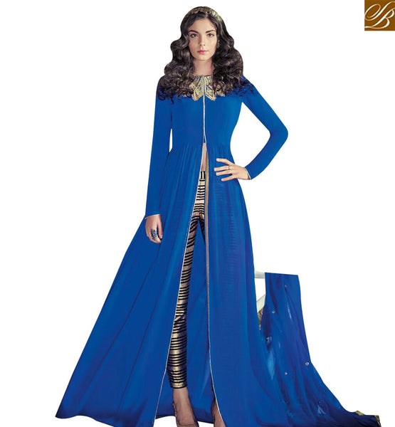 STYLISH BAZAAR LATEST DESIGN BLUE COLORED DESIGNER EMBROIDERED WORK GEORGETTE SLIT CUT ANARKALI STYLE SALWAR KAMEEZ JNROS4002