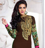 EXCITING BROWN PARTY WEAR SALWAR SUIT WITH CONTRAST GREEN CHUNNI