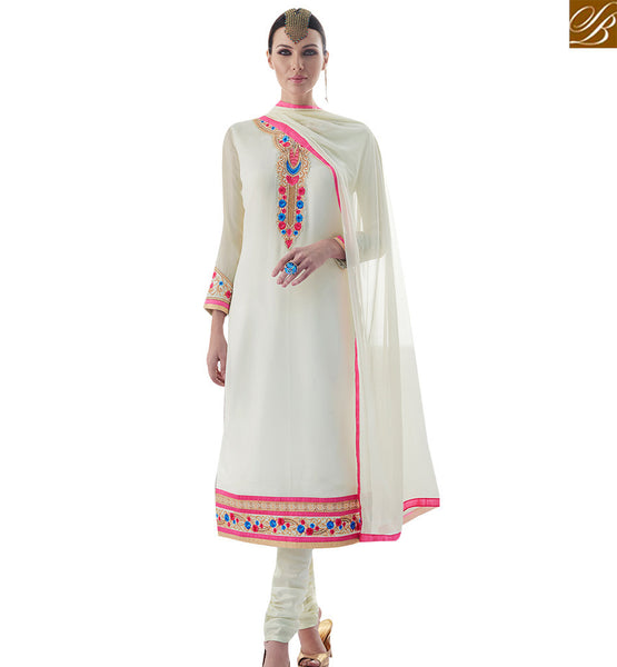 STYLISH BAZAAR ALLURING WHITE COLORED SALWAR SUIT WITH NICE BORDER WORK SLAY4003