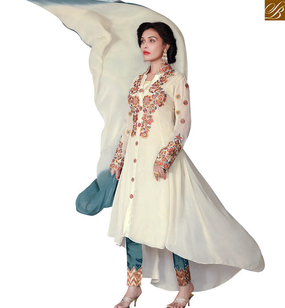 STYLISH BAZAAR EXQUISITE CREAM COLORED PARTY WEAR SALWAR KAMEEZ RTZN4003