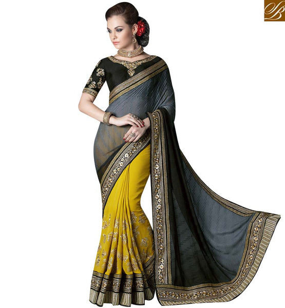 STYLISH BAZAAR ATTRACTIVE YELLOW AND GREY GEORGETTE HALF N HALF HEAVY EMBROIDERED SAREE WITH BLACK SILK BLOUSE GLZR4003