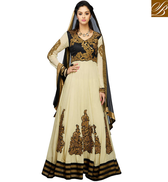 CLASSY CREAM GEORGETTE ANARKALI RTWV4003 - STYLISHBAZAAR - Georgette Salwar Kameez, Georgette Salwar Suits, Designer wear, Georgette Anarkali, Georgette Anarkali Suits, Shop Online for Georgette Suits, Online Shopping India, Georgette Dresses