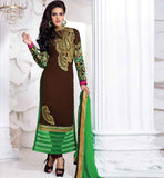 STYLISH BAZAAR BROWN DESIGNER GEORGETTE PARTY WEAR SALWAR KAMEEZ
