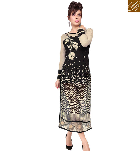 STYLISH BAZAAR TRENDY BLACK AND CREAM COLORED PRINTED KURTI WITH PATCH WORK RTZP4003