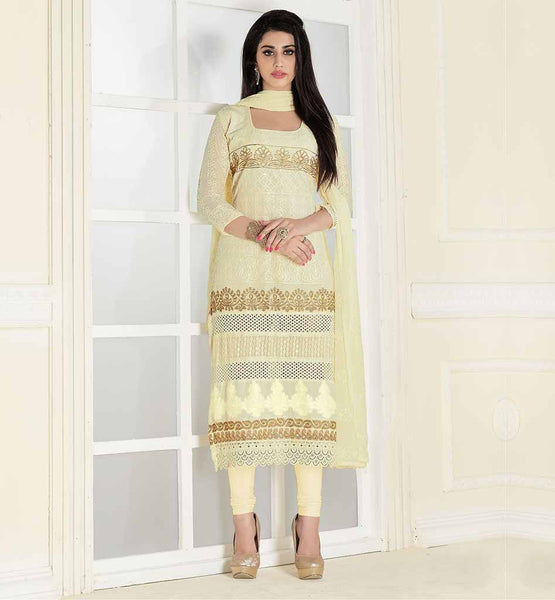 SOFT LAWN COTTON PUNJABI SALWAR SUIT FOR WOMEN THIS SUIT HAS CREAM & GOLDEN COLOR FLORAL EMBROIDERY WORK ON ALL OVER THE TOP & SLEEVES AND SEQUENCE WORK AT LOWER PART