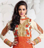 COOL ORANGE SALWAR SUIT WITH MATCHING NAZNEEN CHUNARI