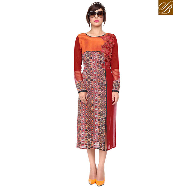 STYLISH BAZAAR MODISH MAROON COLORED PRINTED KURTI WITH EMBROIDERY WORK RTZP4004