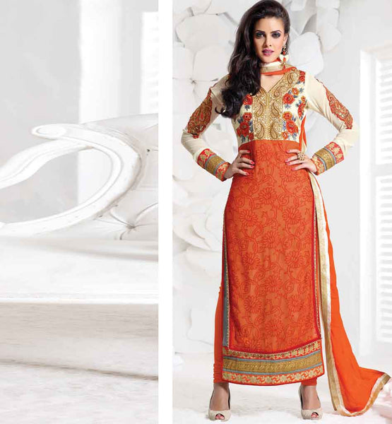 EYE-CATCHING ORANGE PAKISTANI LOOK PARTY WEAR SALWAR KAMIZ FOR WOMEN