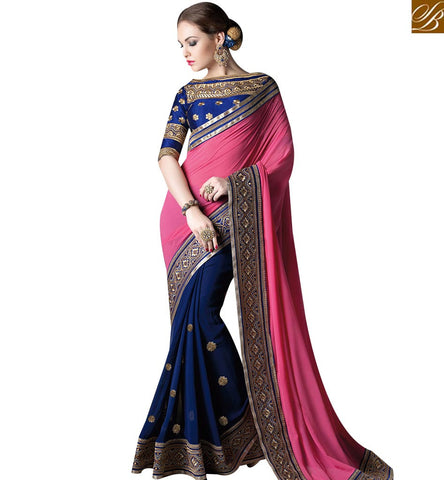 STYLISH BAZAAR MARVELOUS NAVY BLUE AND PEACH GEORGETTE DESIGNER SAREE ATTIRE WITH PEACH COLOR PALLU GLZR4004
