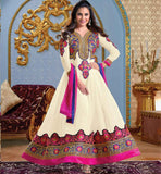 Lara Dutta in Cream Anarkali Dress