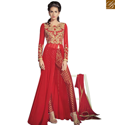 STYLISH BAZAAR APPRECIATING RED COLORED GEORGETTE BEAUTIFUL DESIGNER EMBROIDERED SLIT CUT ANARKALI STYLE SALWAR KAMEEZ JNROS4004