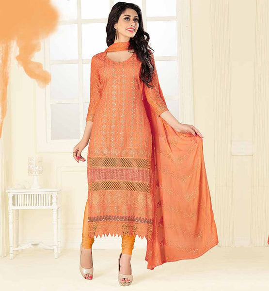 PUNJABI SALWAR SUIT BOUTIQUE ONLINE FOR WOMEN ORANGE COLOR SOFT LAWN DRESS WITH CONTRAST THREAD WORK FLORAL DESIGNING