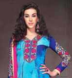 STUNNING SKY BLUE ORNATE PRINT GEORGETTE STRAIGHT CUT SALWAR SUIT