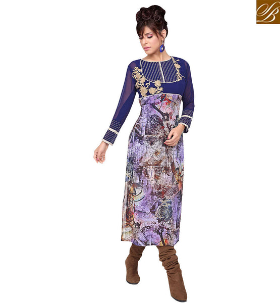 STYLISH BAZAAR ELEGANT MULTI-COLORED GEORGETTE PRINTED KURTI RTZP4005