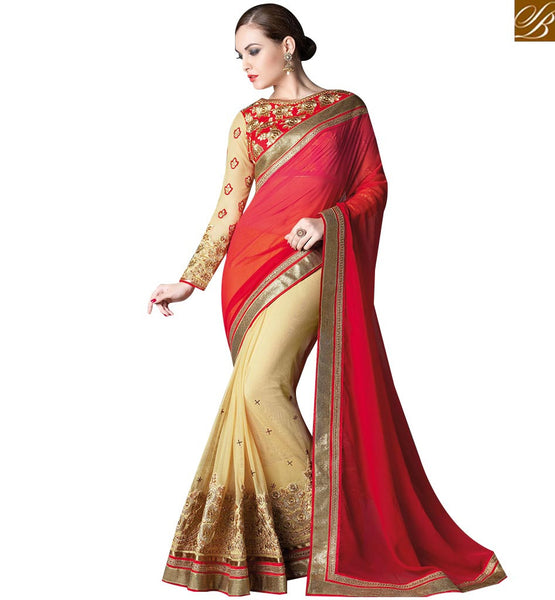 STYLISH BAZAAR INVITING BEIGE AND RED GEORGETTE HEAVY EMBROIDERED SAREE HAVING FULL SLEEVES EMBROIDERED BLOUSE GLZR4005