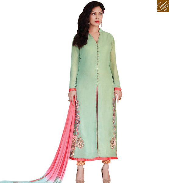 STYLISH BAZAAR CAPTIVATING GREEN COLORED SUIT WITH BEAUTIFUL BORDER WORK RTZN4005