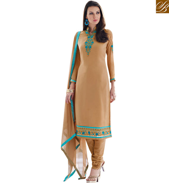 STYLISH BAZAAR STYLISH CREAM COLORED CASUAL WEAR SALWAR KAMEEZ SLAY4005