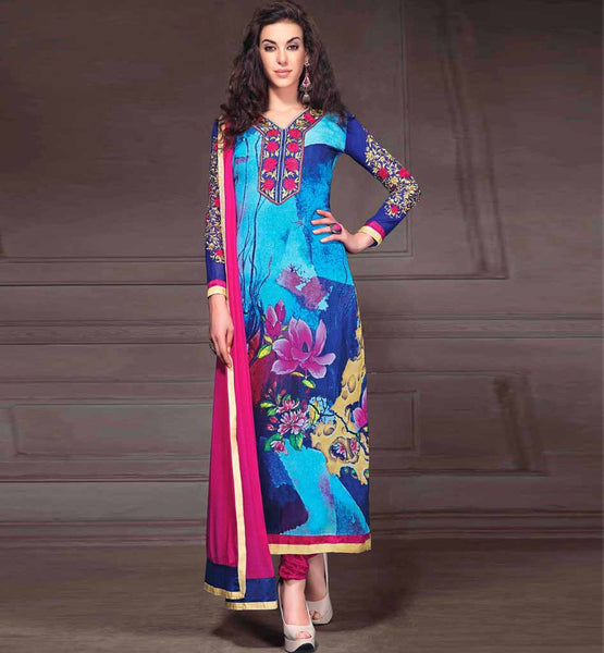 SHOP ONLINE PRINTED GEORGETTE PARTY WEAR SALWAR KAMEEZ WITH PINK DUPATTA STYLISHBAZAAR RTANA4005