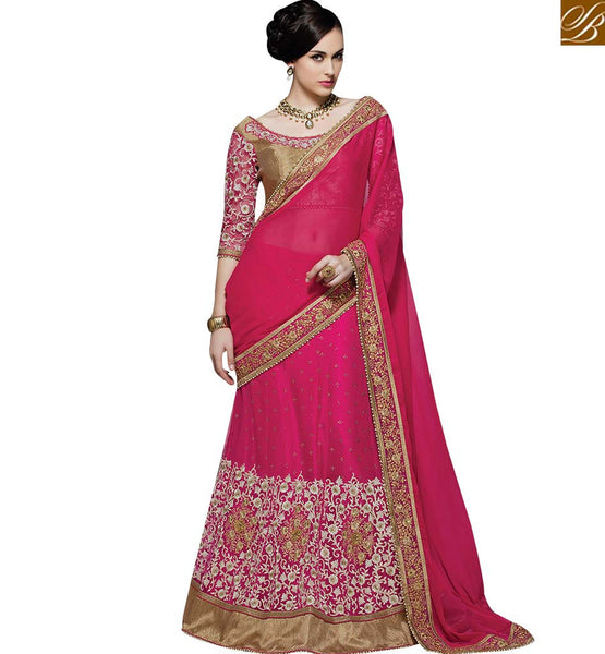 STYLISH BAZAAR BEAUTIFUL PINK GEORGETTE NET WHITE EMBROIDERED SAREE WITH GOTA LACE BORDER MHMM4005