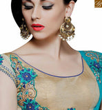 FROM STYLISH BAZAAR EYE CATCHING LIGHT BLUE SHADED HAVING GOTA LACE BORDER DESIGNER SAREE MHMM4006